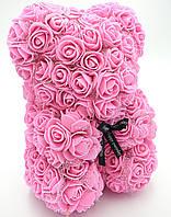 Мишка из розовых 3D роз с фатином 25 см медведь Тедди в подарочной упаковке Розовый, фото 1