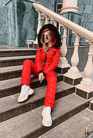 Трендовый красный лыжный костюм с опушкой из натурального меха С М Л ХЛ ХХЛ