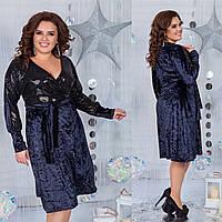 Бархатное платье с пайетками 3372 (48-58)