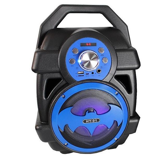 Колонка бумбокс беспроводная Bluetooth акустика портативная Бэтмен HY-01 чёрно-синяя