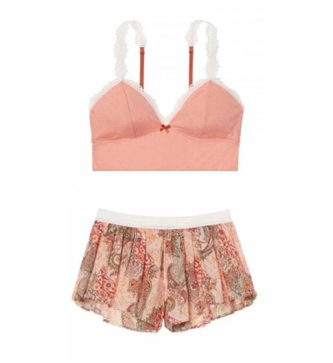Victoria's Secret Пижама с Шортами Sleep Bralette & Sleep Short р. S, Коралловый