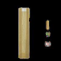 Бумажный пакет без ручек крафтовый с прозрачной вставкой 570х100х50/40мм (ВхШхГхШВ) 40г/м² 100шт (292)