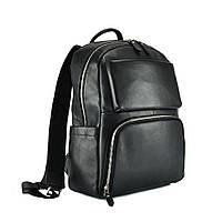 Мужской кожаный рюкзак для ноутбука черный Tiding Bag B3-154A