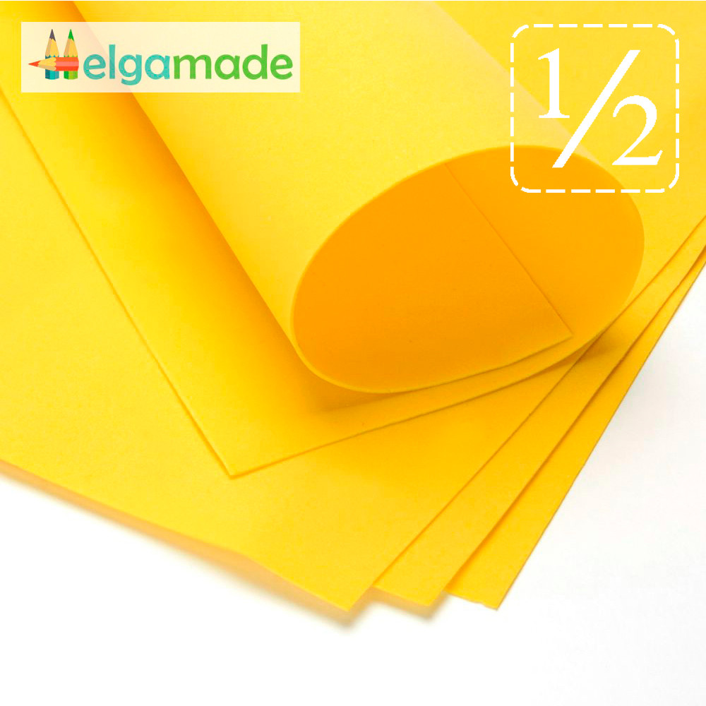 Фоамиран ТЕМНО-ЖЕЛТЫЙ, 1/2 листа, 30x70 см, 0.8-1.2 мм, Иран