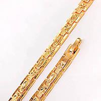 Браслет Xuping Jewelry 19 см х 7 мм женский с алмазным рисунком медицинское золото, позолота 18К А/В 4676