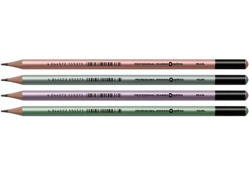 Олівець чорнографітних Optima PEARL HB корпус асорті, загострений
