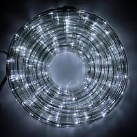 Светодиодная LED новогодняя гирлянда прозрачный силиконовый шланг 9.8 м Дюралайт белый