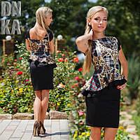 Платье Баска Чёрное Леопардовый Принт Шотландские Мотивы Короткий Рукав