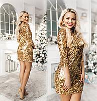 Женское платье пайетка трикотаж серебро черное золото 42 44 46 48 50 52 54, фото 1