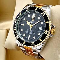 Кварцевые наручные часы Rolex Submariner на металлическом браслете комбинированные, черный циферблат с датой