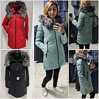 Женская куртка-пуховик с натуральным мехом чернобурки, фото 1
