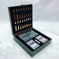Набор настольных игр 4 в 1 шахматы покер кости и домино 240х240х70 мм