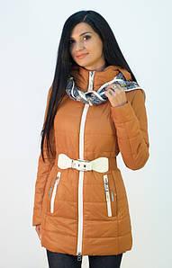 Женская куртка на синтепоне ENYI с шарфом
