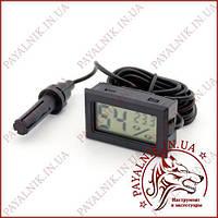 Термометр FY-12 с измерением влажности, выносной датчик 1 метр (черный)