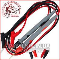 Шнури до тестеру з тонкими сірими щупами, 20А, 4мм, силіконовий кабель, HandsKit