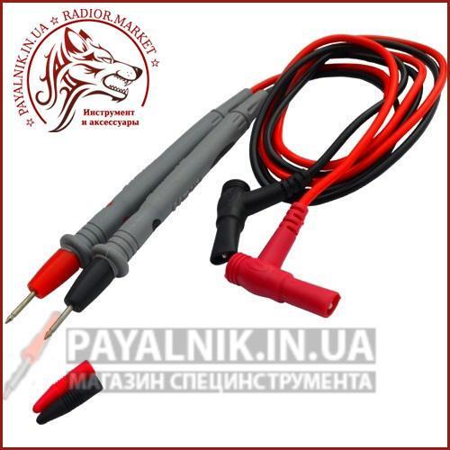 Шнури мультиметра з сірими щупами, 20А, 4мм, силіконовий кабель (пара)
