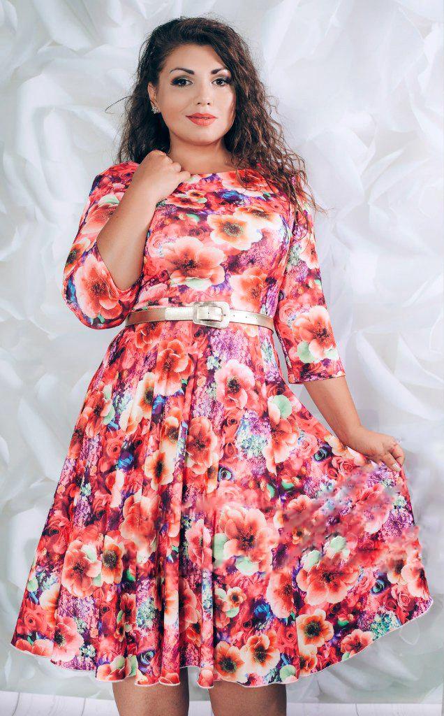 Яркие женские платья больших размеров (52-54)