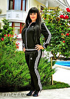 Модный чёрный спортивный костюм Adidas (батал)