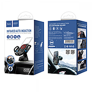 Холдер Hoco CA32 Platinum infrared auto-induction in-car phone holder Blue, фото 2