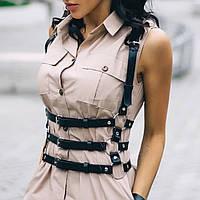 Портупея женская на грудь кожа модный аксессуар