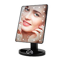 Зеркало для макияжа с подсветкой Large LED Mirror 22 лед сенсорная регулировка Черное