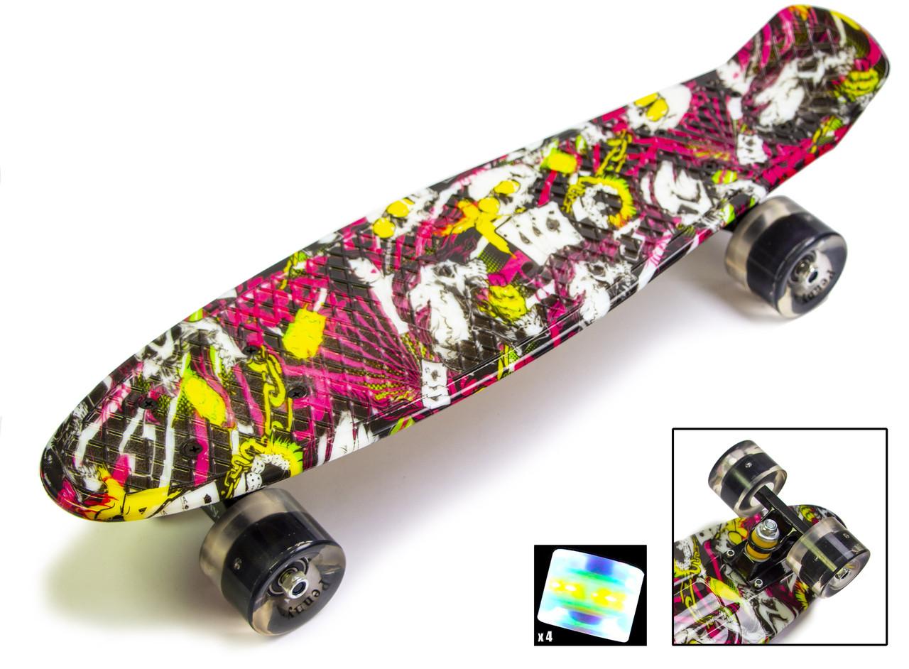 """Пенни борд с рисунком и светящимися колесами мини скейт Penny Board """"Deck"""""""