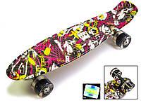 """Пенни борд с рисунком и светящимися колесами мини скейт Penny Board """"Deck"""", фото 1"""