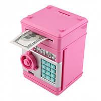 Копилка детский сейф с кодовым замком и купюроприемником для бумажных денег и монет UKC розовый