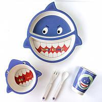 Детская бамбуковая посуда набор из 5 предметов Акула, фото 1