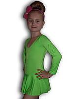 Купальник гимнастический эластик с юбкой зеленый Rivage Line С9655В