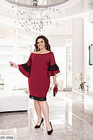 Бордовое платье-миди с рукавами-воланами, размеры 50-52,54-56,58-60
