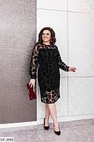 Коктейльное черное платье сетка флок на подкладке, размеры 50-52,54-56,58-60