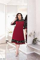 Бордовое платье-трапеция декорировано сеткой флок, размеры 50-52,54-56,58-60