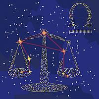 Картина по номерам Идейка Звездный знак Весы с краской металлик 50х50 см KH9503, КОД: 1318458