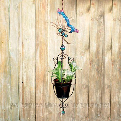 """Кашпо подвесное металлическое 12х12х60 см. """"Райская бабочка"""" разноцветное, фигурное"""