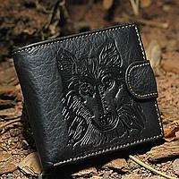 Мужской кожаный кошелек. Волк, фото 1