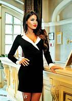 Роскошное приталенное черное платье с белым воротником и манжетами