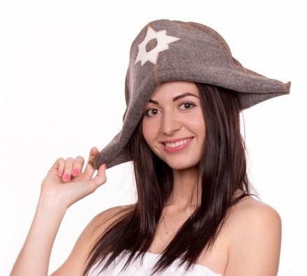 """Банная шапка Luxyart """"Наполеон"""", натуральный войлок, серый (LA-067)"""