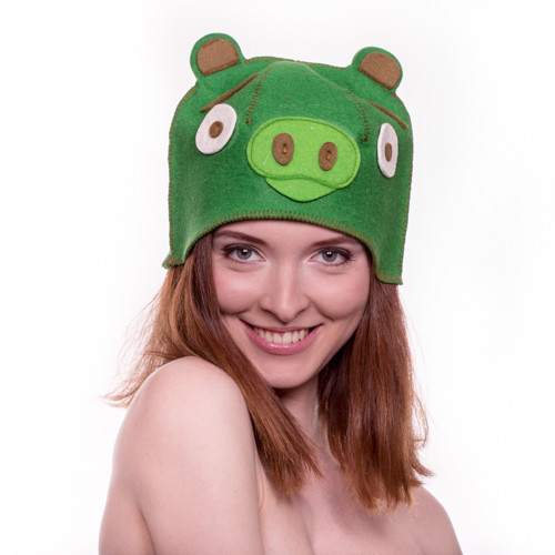 """Банная шапка Luxyart """"Свинка"""", натуральный войлок, зеленый (LA-096)"""