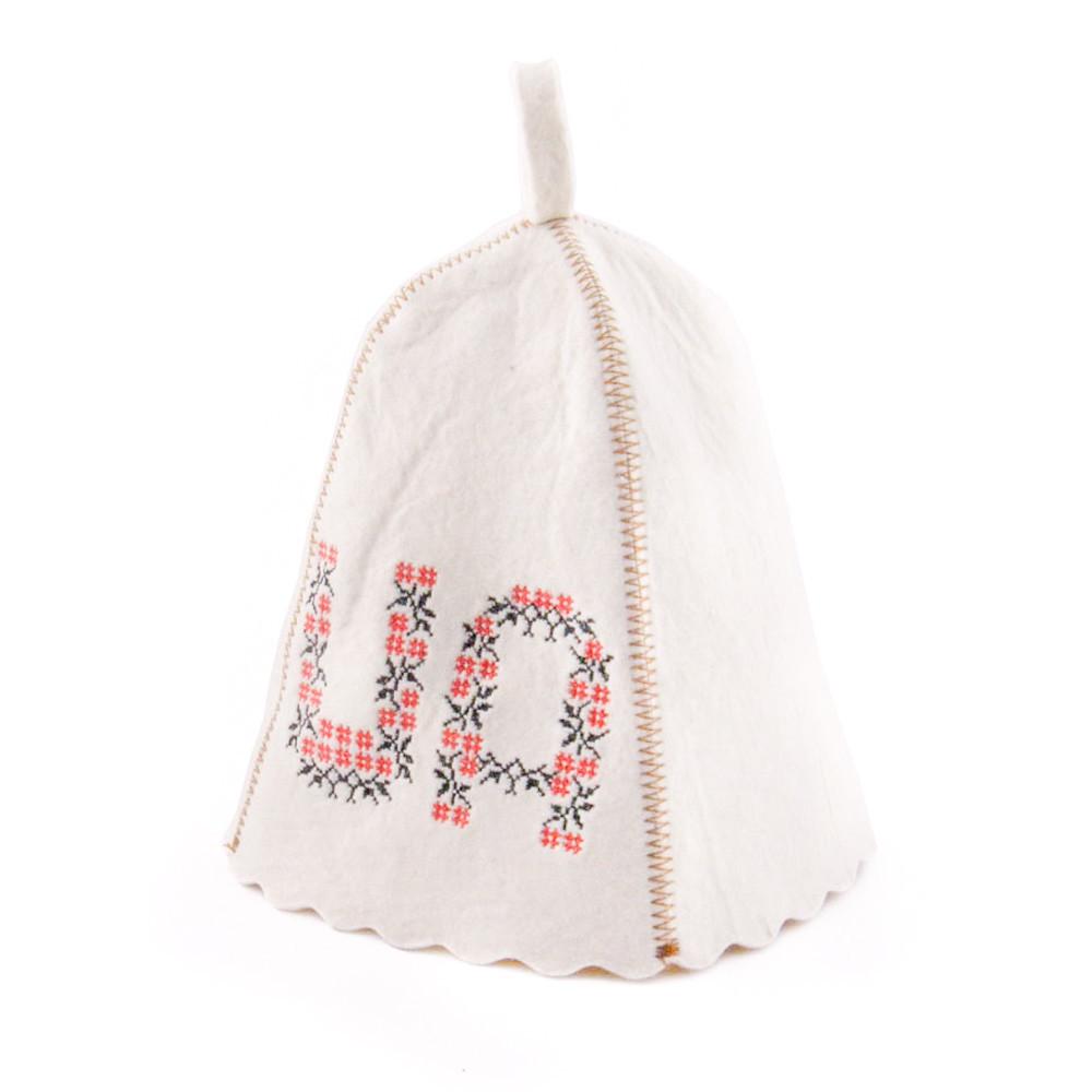 """Банная шапка Luxyart """"UA"""", натуральный войлок, белый (LA-204)"""