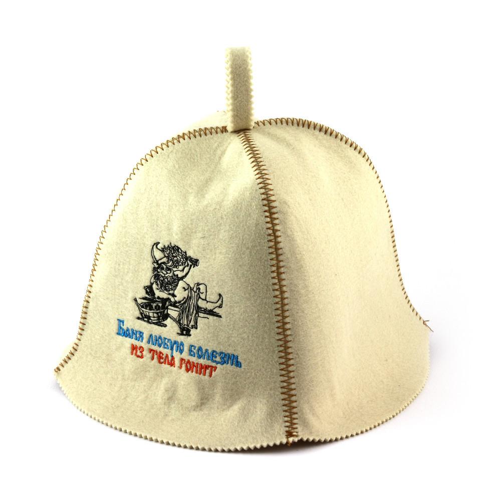 """Банная шапка Luxyart """"Баня любую болезнь из тела гонит"""", искусственный фетр, белый (LA-367)"""