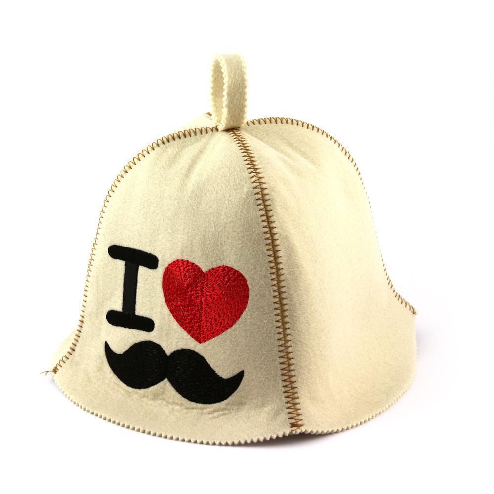 "Банная шапка Luxyart ""I love hipster"", искусственный фетр, белый (LA-385)"