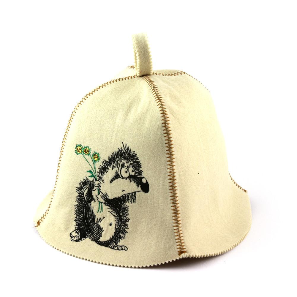 """Банная шапка Luxyart """"Ежик влюбленный"""", искусственный фетр, белый (LA-405)"""