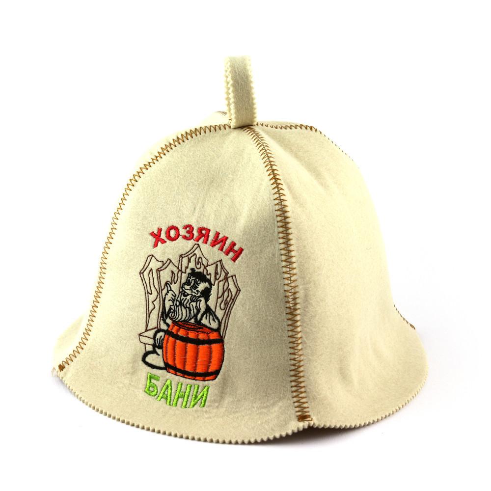 "Банная шапка Luxyart ""Хозяин бани"", искусственный фетр, белый (LA-407)"