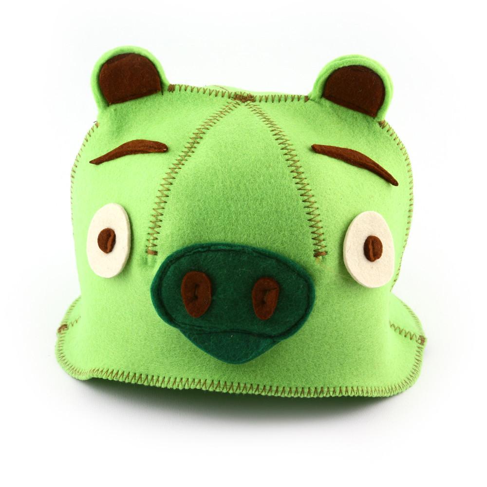 """Банная шапка Luxyart """"Свинка"""", искусственный фетр, зеленый (LA-433)"""