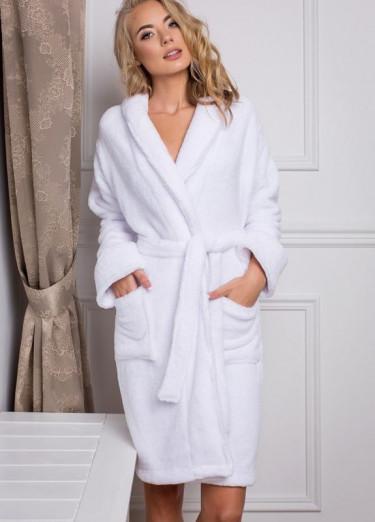 Махровый халат Luxyart, 100% хлопок, 400-420 гр/м2, белый, размер M (E-24970)
