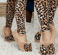 Домашние махровые теплые тапочки, размер 37-38, леопард (AV76)