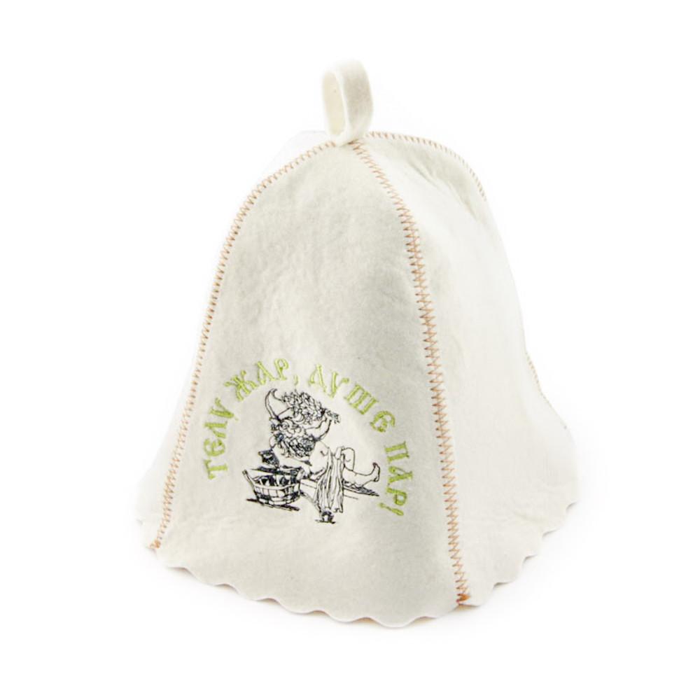 """Банная шапка Luxyart """"Телу жар душе пар"""", натуральный войлок, белый (LA-162)"""