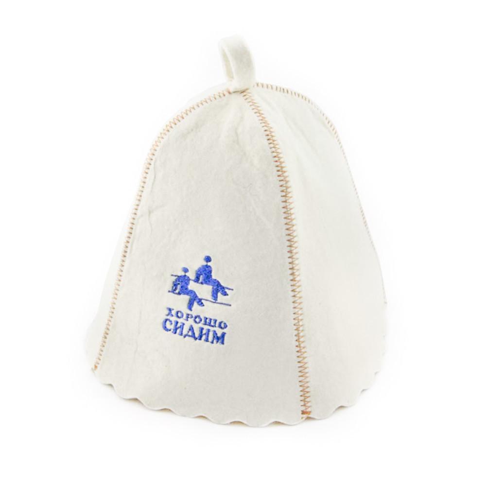 """Банная шапка Luxyart """"Хорошо сидим"""", натуральный войлок, белый (LA-165)"""