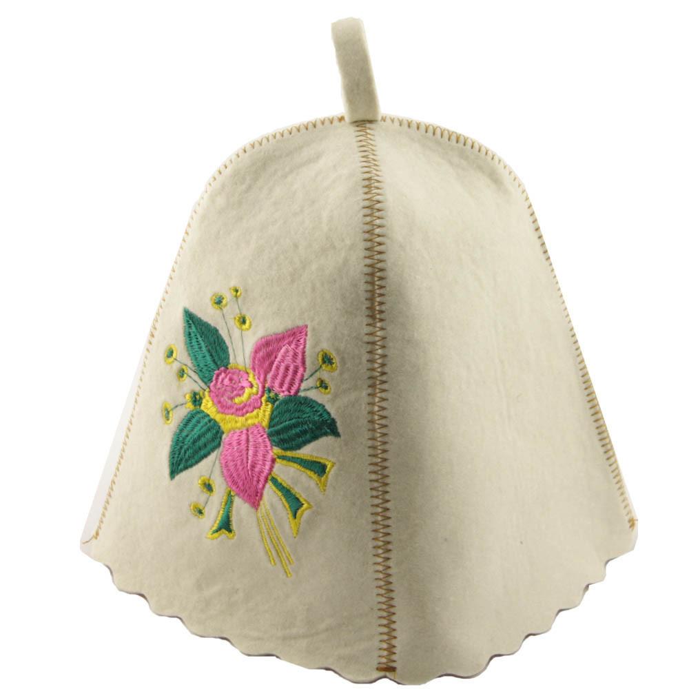 """Банная шапка Luxyart """"Цветок"""", натуральный войлок, белый (LA-168)"""